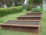 raised veggie beds with side seats by Yummy Gardens Melbourne