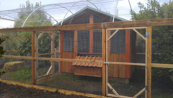 chook house with divided hooped run by Yummy Gardens Melbourne