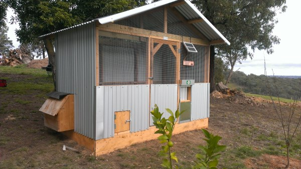 Chook house with solar powered door opener designed & built by Yummy Gardens Melbourne