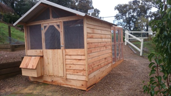 Reclaimed cypress chicken house and run by Yummy Gardens Melbourne