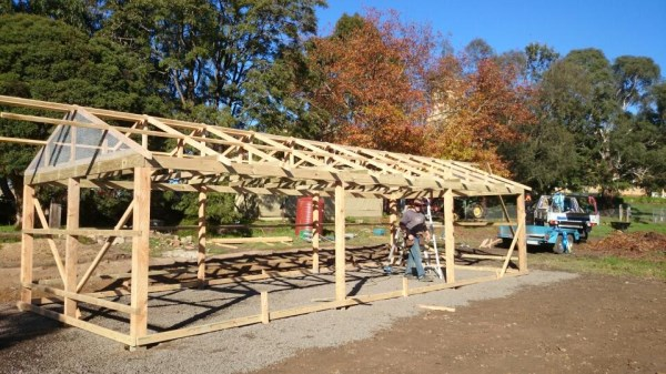 Frame of large chook house under construction by Yummy Gardens Melbourne