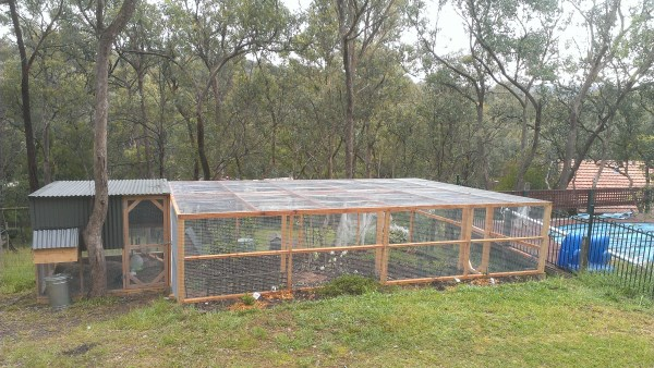 Chicken house with large secure run designed and built by Yummy Gardens Melbourne