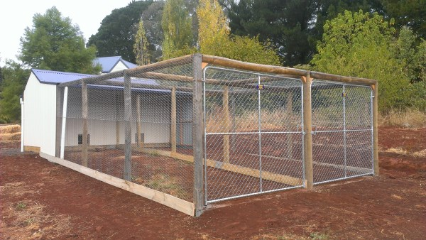 Large divided run at rear of chook house by Yummy Gardens Melbourne