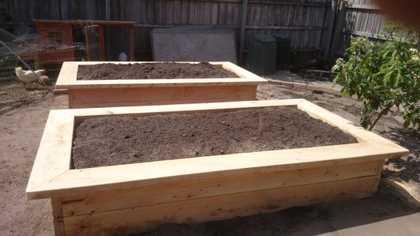 newly completed cypress veggie beds by Yummy Gardens Melbourne