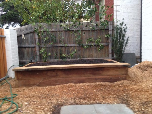 Raised ironbark bed by Yummy Gardens Melbourne
