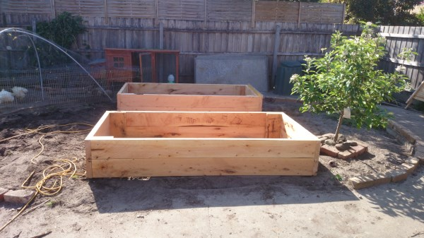Raised vegetable beds under construction by Yummy Gardens Melbourne