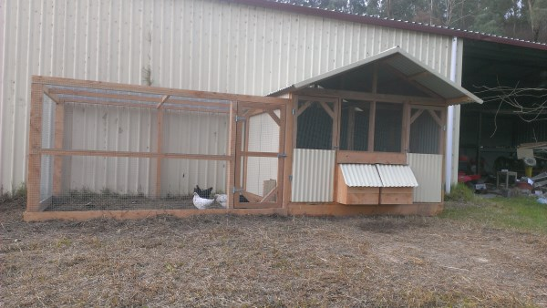 Divided chook house with side run designed and built by Yummy Gardens Melbourne