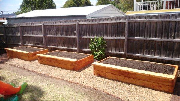 Backyard veggie beds built by Yummy Gardens Melbourne