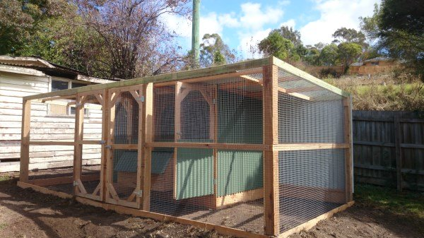 Divided flat roof chook house with divided run by Yummy Gardens Melbourne