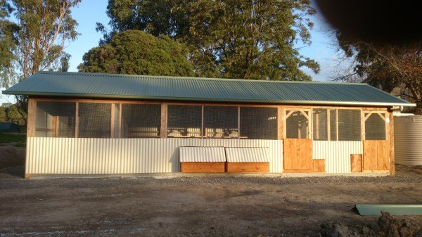 Very large chicken house at a rehabilitation centre designed and built by Yummy Gardens Melbourne